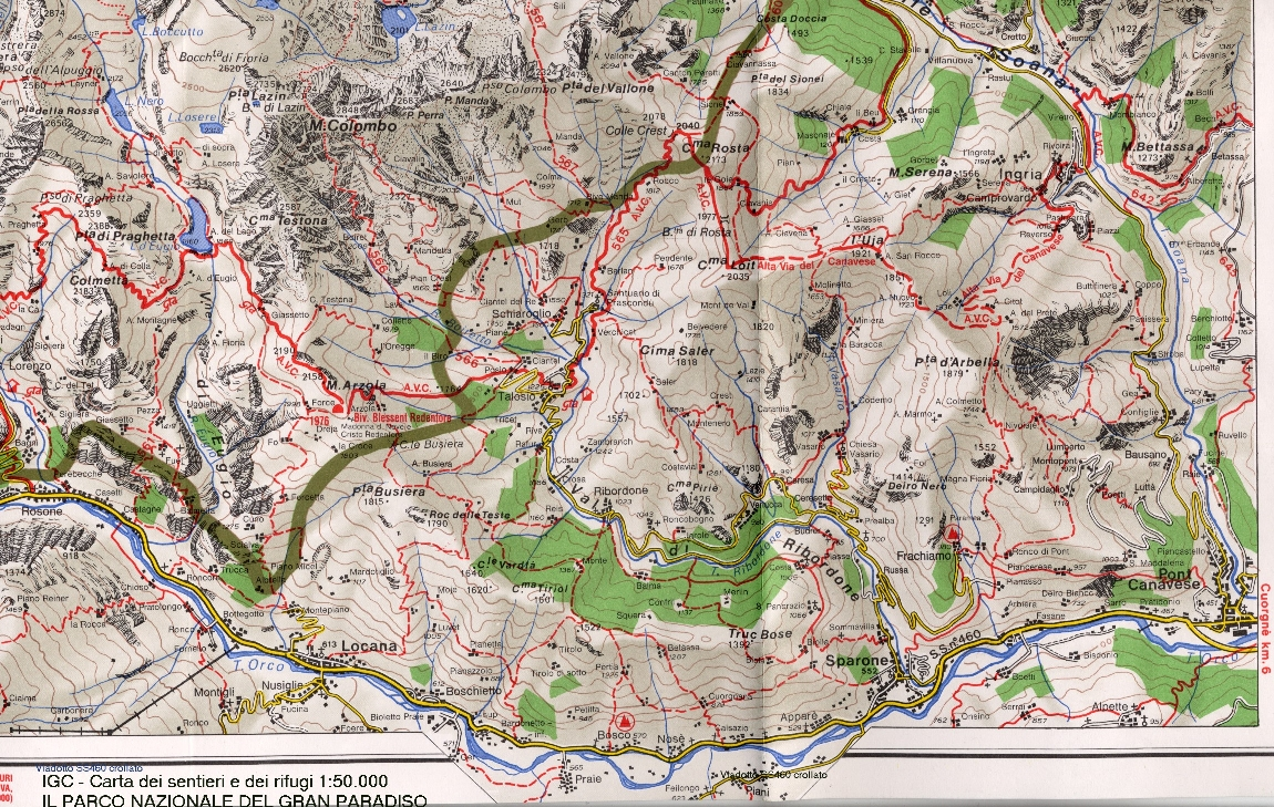 Mapa Valle dell Orco